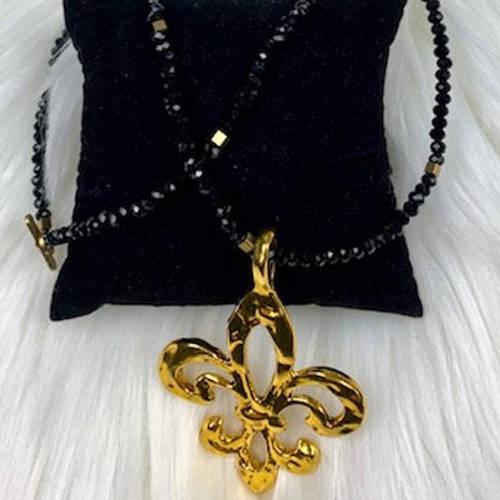 Fleur De Lis Black Crystal Neckla