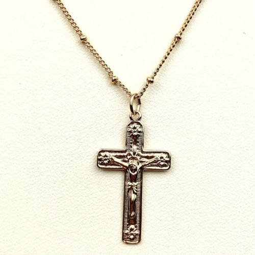 Gold Crucifix Charm Necklace