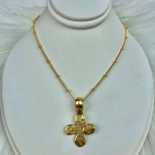 Gold Hammered Ancient Cross