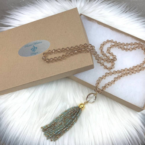 Long Champagne Gold Crystal Necklace (Box View)