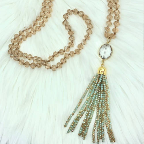 Long Champagne Gold Crystal Necklace (Curl View)