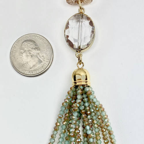 Long Champagne Gold Crystal Necklace (Size View)