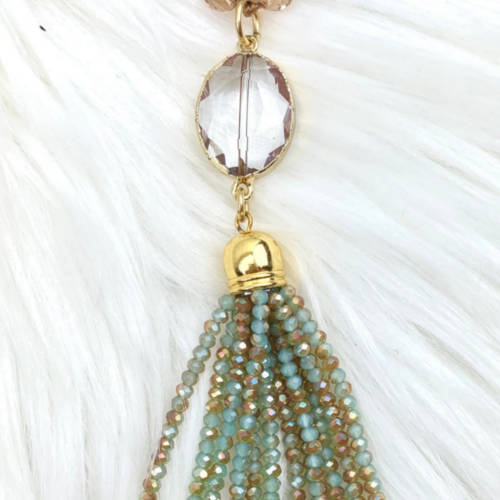 Long Champagne Gold Crystal Necklace (Tassel View)