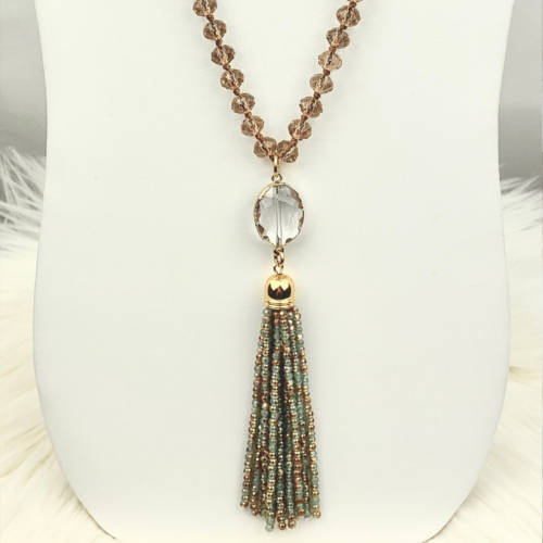 Long Champagne Gold Crystal Necklace (longView)