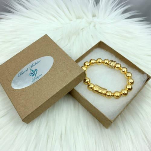 Chunky Hammered Gold Bracelet (Box)