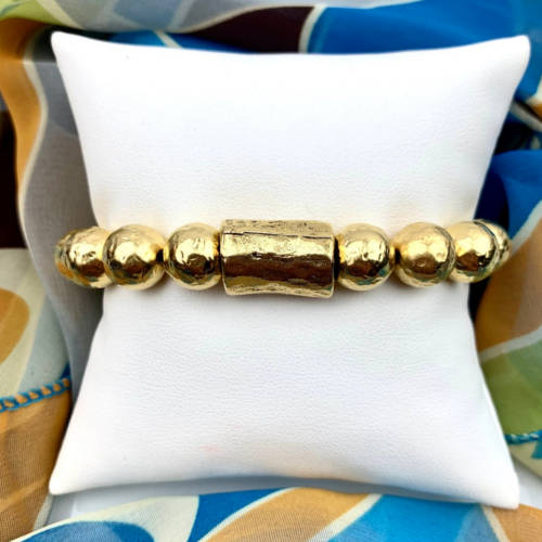 Chunky Hammered Gold Bracelet (Pillow )