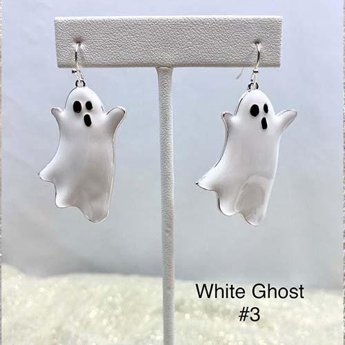 Dangle Halloween Earrings (White Ghost)